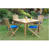 "Anderson Teak Windsor 47"" Square Bistro Table + 6 Comfort Folding Chairs - American Teak"