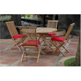 "Anderson Teak Bahama 47"" Round Folding Table + 4 Classic Folding Chairs - American Teak"
