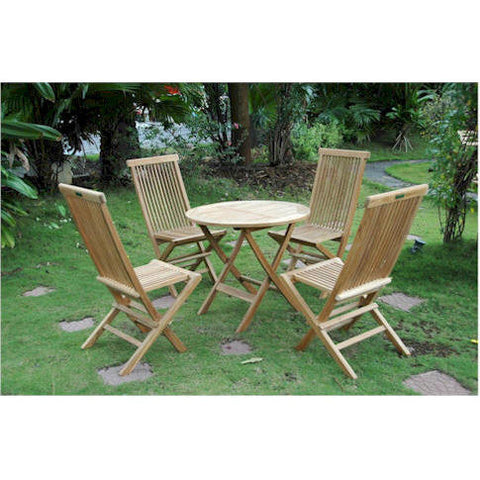 Anderson Teak Windsor Folding Picnic Table Set With 4 Classic Folding Chairs - American Teak