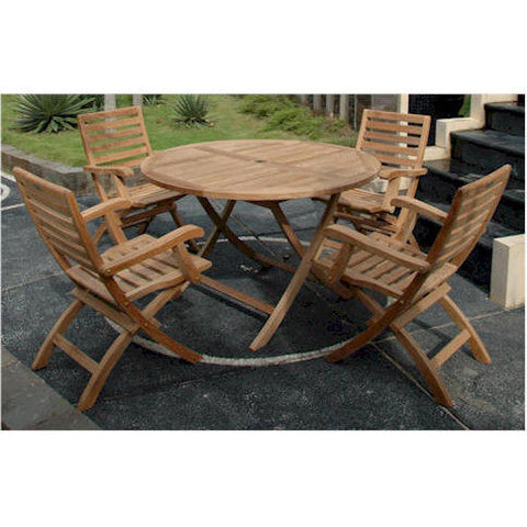 "Anderson Teak Bahama 47"" Round Folding Table + 4 Andrew Folding Armchairs - American Teak"