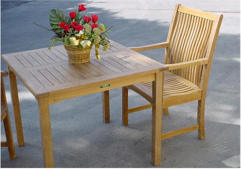Anderson Teak Bahama 35\  Square Bistro Table + 4 Chicago Dining Armchairs - American Teak & Bistro Table Sets \u2013 American Teak