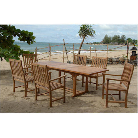 Anderson Teak Rectangular Extension Table  +  6 Wilshire Dining Armchairs - American Teak