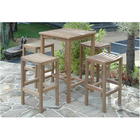 "Avalon 27"" Square Bar Table  +  4 Montego Bar Chairs - American Teak"
