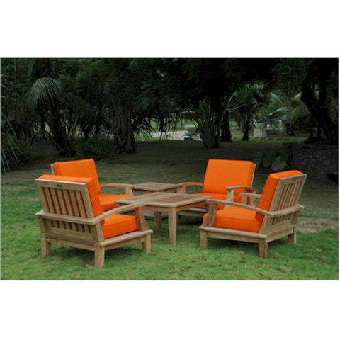 Anderson Teak Brianna Armchair Set with Coffee Table & 2-Tier Square Side Table - American Teak