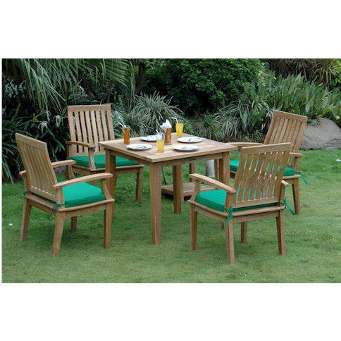 "Anderson Teak Windsor 35"" Square Table + 4 Brianna Dining Armchair Set - American Teak"