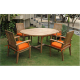 "Anderson Teak Bahama 67"" Oval Extension Table + 4 Brianna Dining Armchairs - American Teak"