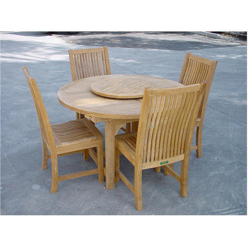 "Anderson Teak Bahama 67"" Oval Extension Table + 4 Chicago Dining Chairs - American Teak"