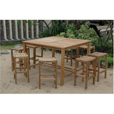 "Anderson Teak Windsor 59"" Square Bar Table + 8 Montego Bar Chairs - American Teak"