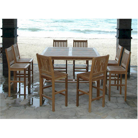"Windsor 59"" Square Bar Table + 8 Avalon Bar Chairs - American Teak"
