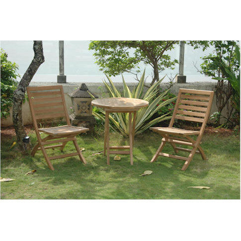"Anderson Teak Bahama 27"" Bistro Round Folding Table + 2 Andrew Folding Chairs - American Teak"
