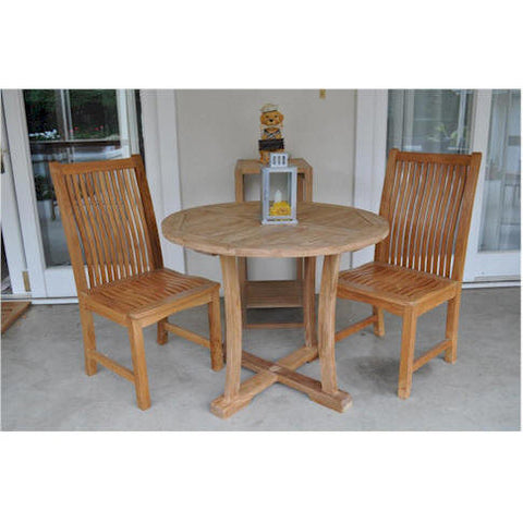 "Bistro 35"" Round Table + 2 Chicago Dining Chairs - American Teak"