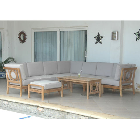 ... 9 Piece Natsepa Modular Deep Seating Sectional Sofa Set Set 139    American Teak ...