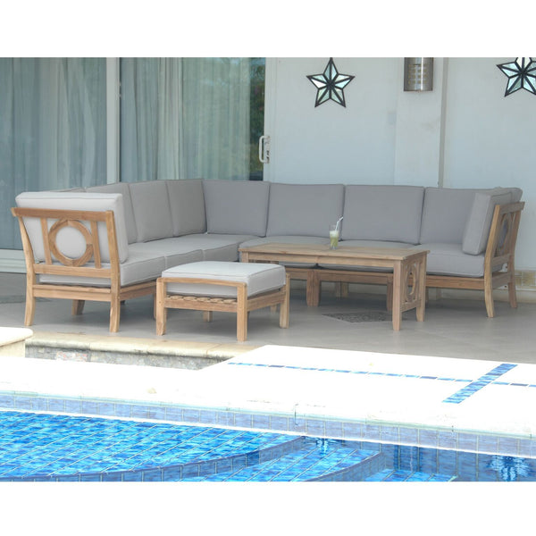 9 Piece Natsepa Modular Deep Seating Sectional Sofa Set Set-139 - American Teak