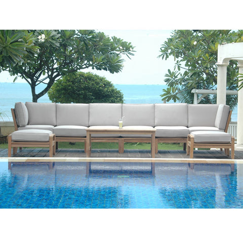 9 Piece Natsepa Modular Deep Seating Sectional Sofa Set Set-140 - American Teak
