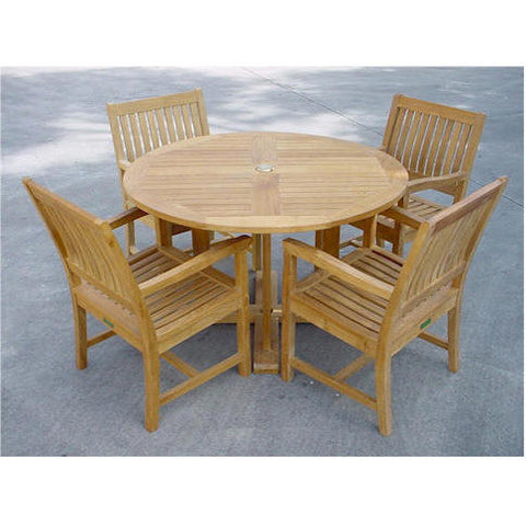 "Anderson Teak Tosca 47"" Round Table + 4 Rialto Dining Armchairs - American Teak"