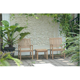 "Anderson Teak Bahama 20"" Mini Side Table + 2 Rialto Arm Chairs - American Teak"