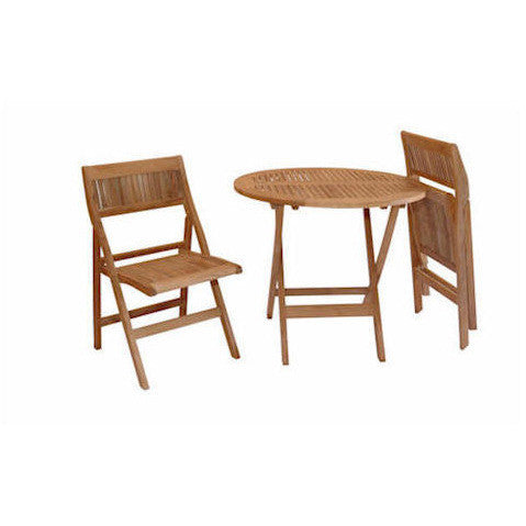 "Anderson Teak Windsor 31"" Round Folding Picnic Table Set With 2 Chairs - American Teak"