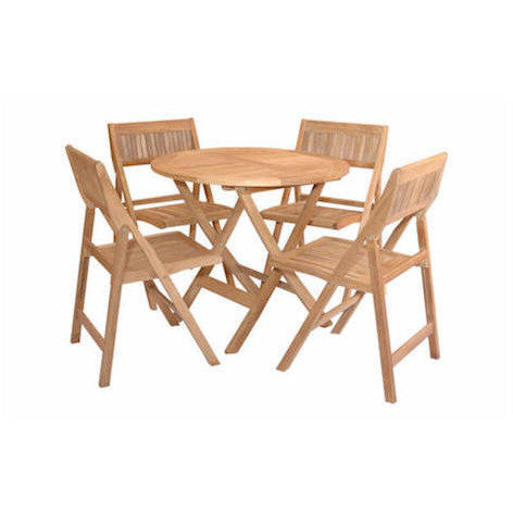 "31"" Windsor Round Folding Picnic Table Set With 4 Chairs - American Teak"