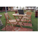 "Anderson Teak 31"" Windsor Round Folding Picnic Table Set With 4 Chairs - American Teak"