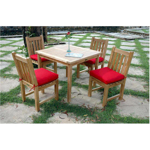 "Anderson Teak Bahama 35"" Square Table + Classic Dining Chair Set - American Teak"
