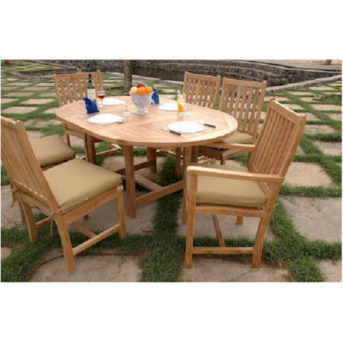 "Anderson Teak 67"" Oval Extension Table With 2 Wilshire Dining Chairs - American Teak"