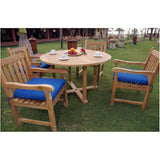 "Anderson Teak Tosca 47"" Round Table + 4 Classic Dining Armchairs - American Teak"
