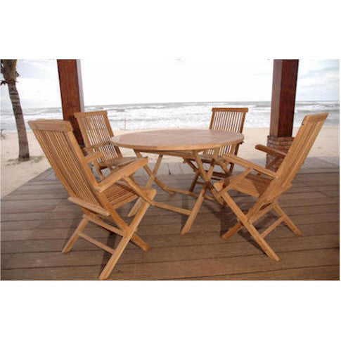 "Anderson Teak Bahama 47"" Round Folding Table + 4 Classic Folding Armchairs - American Teak"