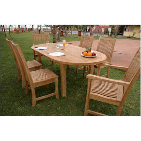 "Anderson Teak Bahama 78"" Oval Ext. Table + 6 Chicago Dining Chairs - American Teak"