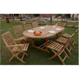 "Anderson Teak Bahama 87"" Oval Extension Table + 8 Andrew Folding Chairs - American Teak"