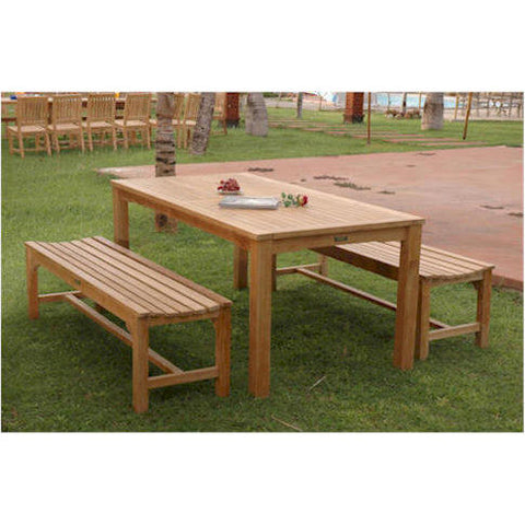 Anderson Teak Bahama Rectangular Dining Table + 2 Hampton Backless Benches - American Teak