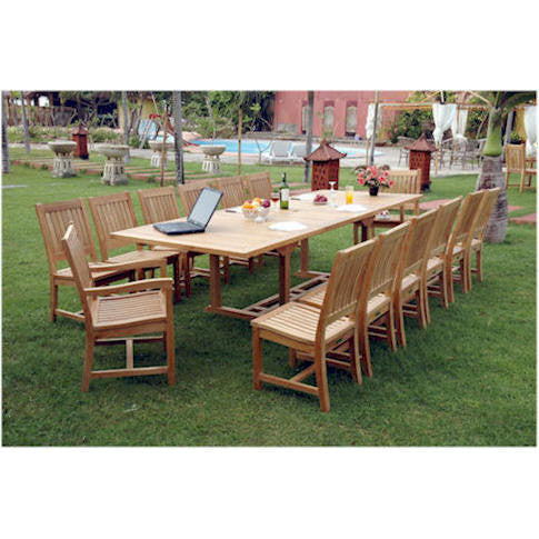 Anderson Teak Valencia Double Extension Table + 12 Rialto Dining Chairs - American Teak