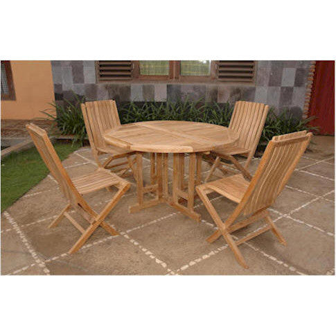 "Anderson Teak 47"" Round Butterfly Folding Table + 4 Comfort Folding Chairs - American Teak"