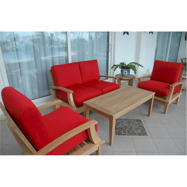 Anderson Teak Brianna Armchair Set w/ Rectangular Coffee Table & Side Table - American Teak