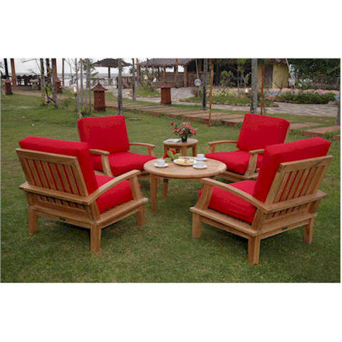 Brianna Deep Seating Set w/ Coffee Table + Side Table - American Teak