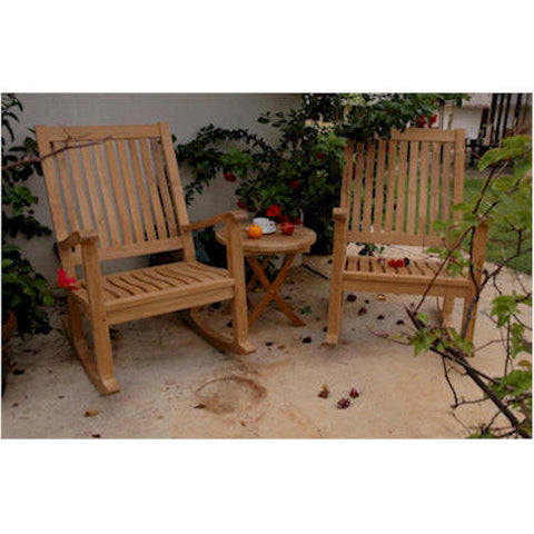 "Anderson Teak Del-Amo Rocking Chair + Bahama 20"" Round Mini Side Folding Table - American Teak"