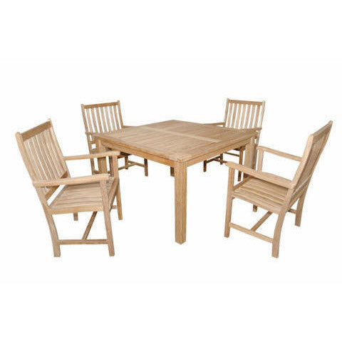 "Anderson Teak Windsor 47"" Square Table + 4 Wilshire Dining Armchairs - American Teak"