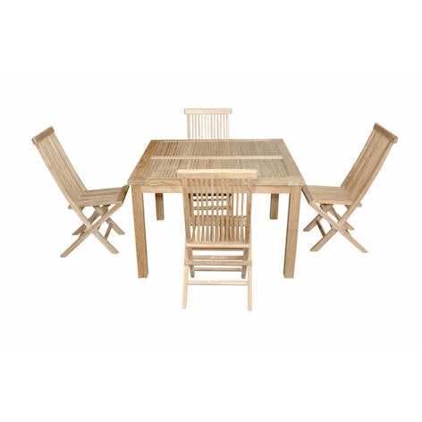 "Anderson Teak Windsor 47"" Square Table + 4 Classic Folding Chairs - American Teak"