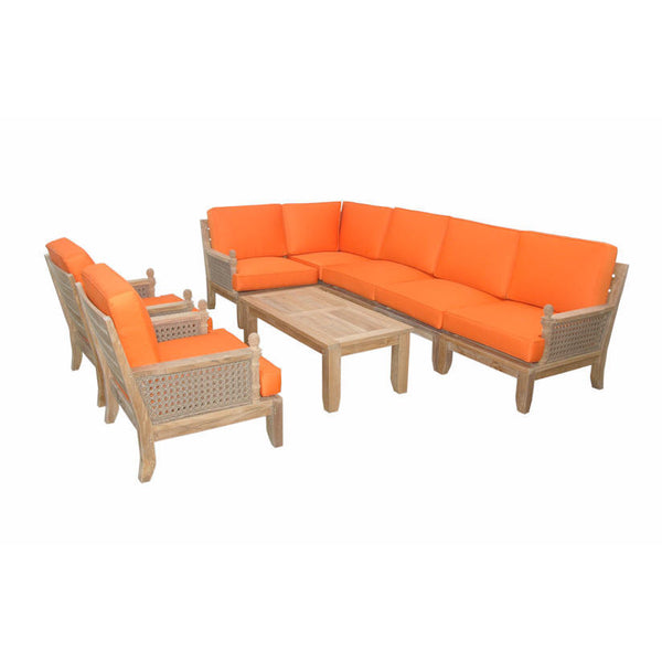 Anderson Teak Extended Luxe Modular Seating Collection With Armchairs - American Teak