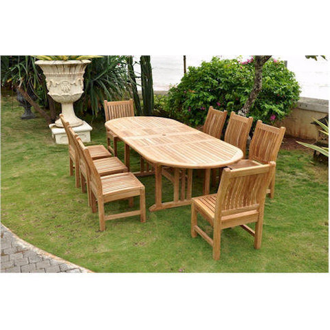 "Anderson Teak Sahara 106"" Oval Double Extension Table + 8 Sahara Dining Chairs - American Teak"