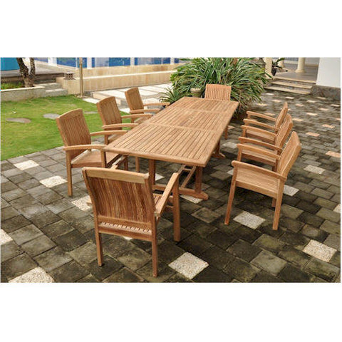 "Anderson Teak Bahama 118"" Rectangular Extension Table + 8 Sahara Stacking Armchairs - American Teak"