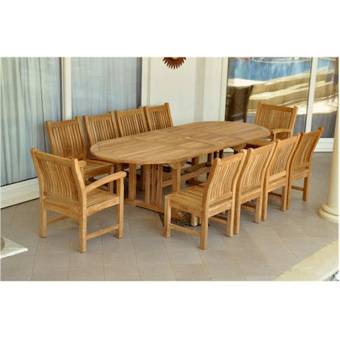 "Anderson Teak Sahara 106"" Oval Double Extension Table + 10 Sahara Chairs - American Teak"