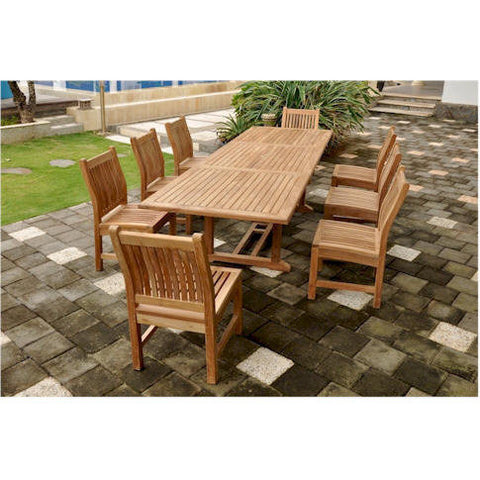 "Anderson Teak Bahama 118"" Rectangular Extension Table + 8 Sahara Side Chairs - American Teak"