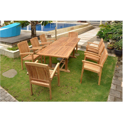 "Anderson Teak Bahama 94"" Rectangular Extension Table + 8 Sahara Stacking Armchairs - American Teak"