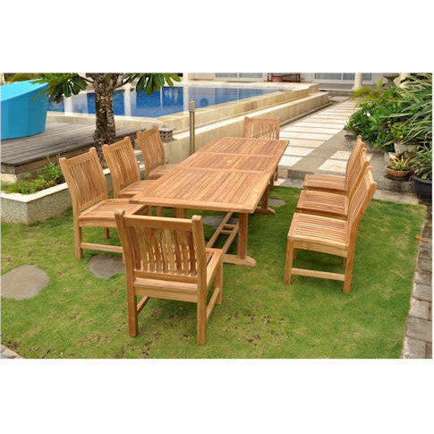 "Anderson Teak Bahama 94"" Rectangular Extension Table + 8 Sahara Dining Chairs - American Teak"