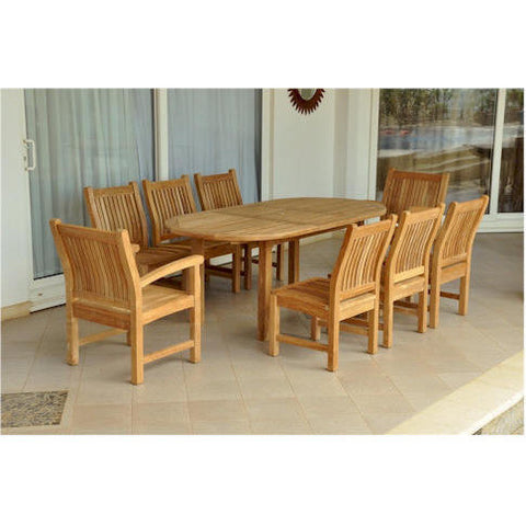 "Anderson Teak Bahama 79"" Oval Extension Table + 8 Sahara Chairs - American Teak"