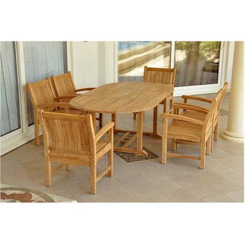"Anderson Teak Bahama 87"" Oval Extension Table + 6 Sahara Dining Armchairs - American Teak"