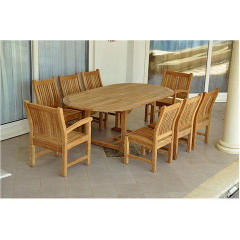 "Anderson Teak Bahama 87"" Oval Extension Table + 8 Sahara Chairs - American Teak"