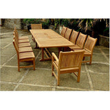 Anderson Teak Valencia Double Extension Table + 12 Sahara Dining Chairs - American Teak