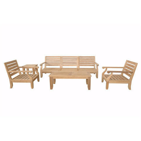 Anderson Teak Riviera Luxe Modular Collection With Armchairs + Side Table - American Teak