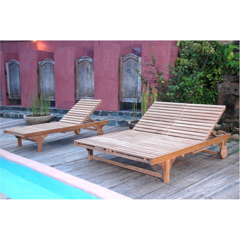Bel-Air Double Sun Lounger-Double Back - American Teak